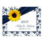 Sunflower Navy Damask Wedding RSVP Postcard
