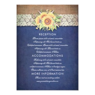 Burlap and Lace Rustic Sunflower Navy Blue Wedding Details Cards