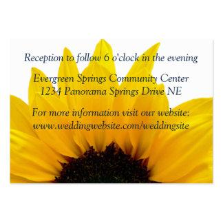 Sunflower Navy Wedding Reception Insert Large Business Card