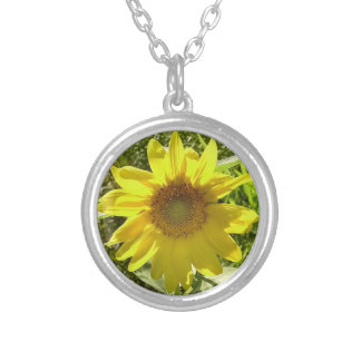 Sunflower Necklace! Round Pendant Necklace