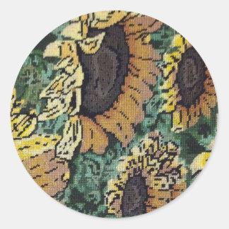 Sunflower Needlepoint #2 Classic Round Sticker