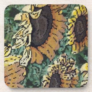 Sunflower Needlepoint 2 Beverage Coaster