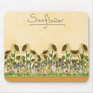 Sunflower Neutral Earth Tone Garden Yellow Country Mouse Pad