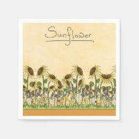 Sunflower Neutral Earth Tone Garden Yellow Country Paper Napkin