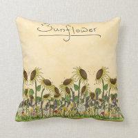 Sunflower Neutral Earth Tone Garden Yellow Country Pillow