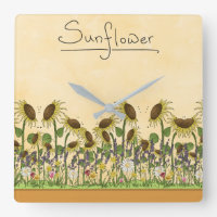 Sunflower Neutral Earth Tone Garden Yellow Country Square Wall Clock