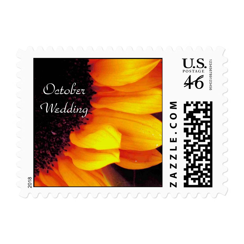 Sunflower October Wedding Stamp Save The Date
