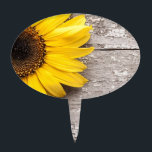 """Sunflower on a Wooden Table Cake Topper<br><div class=""""desc"""">Bright yellow sunflower on a vintage rustic wooden table</div>"""