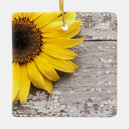 Sunflower on a Wooden Table Ceramic Ornament