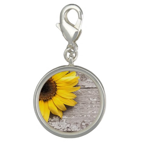 Sunflower on a Wooden Table Charm