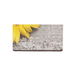 Sunflower on a Wooden Table Checkbook Cover