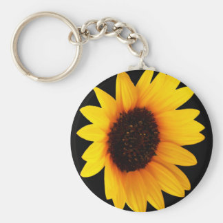 Sunflower on Black Background Keychain