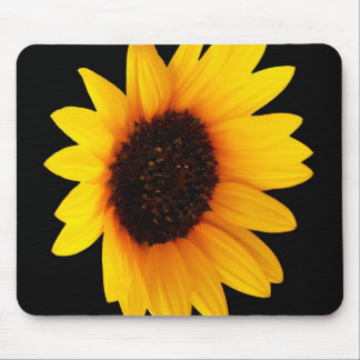 Sunflower on Black Background Mouse Pads