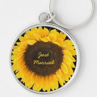 Sunflower on Black Keychain Just Married