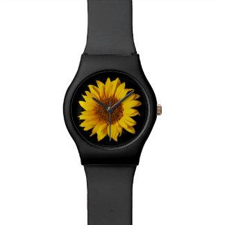 Sunflower on Black Sun Flower Floral Template Wrist Watch