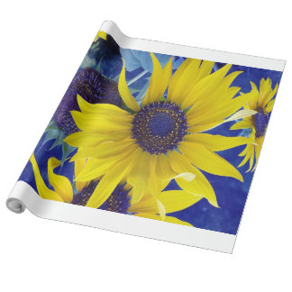 Sunflower on Blue Design Wrapping Paper