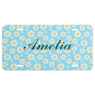 Sunflower on blue, girly, cute, daisy,trendy,moder license plate