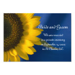 Sunflower on Blue Marriage Announcement