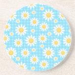 Sunflower on blue pattern fun cute chic modern beverage coasters