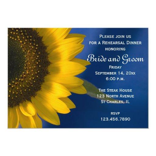 Sunflower on Blue Rehearsal Dinner Invitation