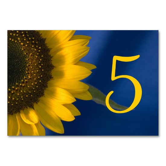 Sunflower on Blue Table Numbers