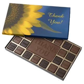 Sunflower on Blue Thank You Assorted Chocolates