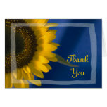 Sunflower on Blue Thank You Note Greeting Card