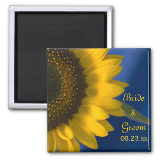 Sunflower on Blue Wedding 2 Inch Square Magnet