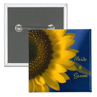 Sunflower on Blue Wedding Button