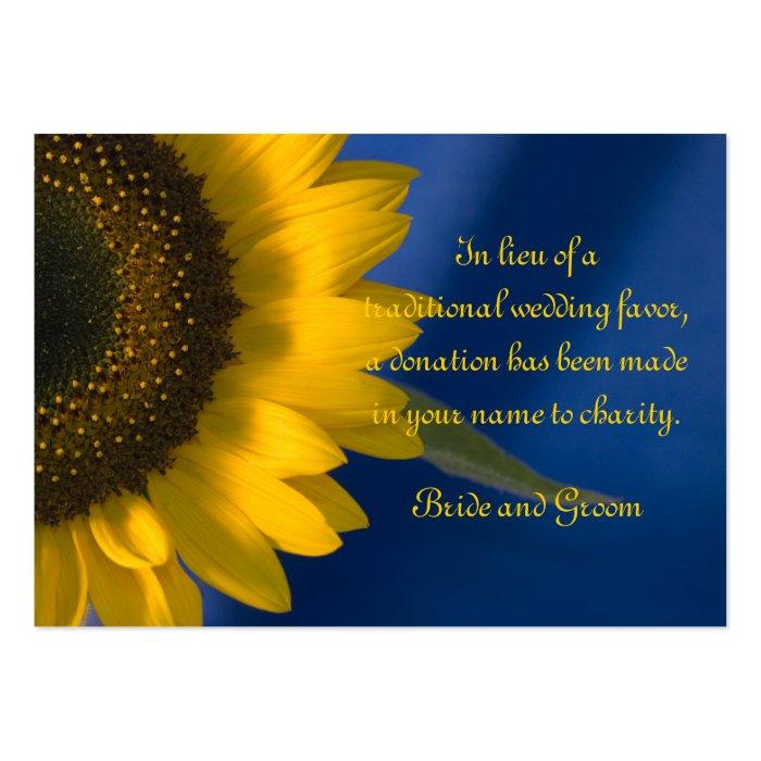 Sunflower on Blue Wedding Charity Favor Card