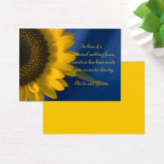 Sunflower on Blue Wedding Charity Favor Card