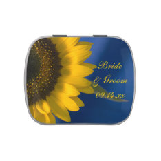 Sunflower On Blue Wedding Favor Jelly Belly Candy Tins at Zazzle