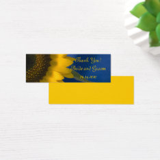 Sunflower On Blue Wedding Favor Tags at Zazzle