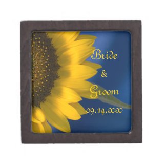 Sunflower on Blue Wedding Gift Box Premium Jewelry Boxes