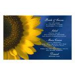 Sunflower on Blue Wedding Menu Stationery