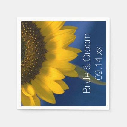 Sunflower on Blue Wedding Paper Napkins