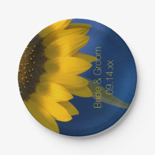 Sunflower On Blue Wedding Paper Plate at Zazzle