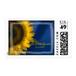 Sunflower on Blue Wedding Postage Stamp