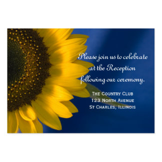 Sunflower on Blue Wedding Reception Card Large Business Card
