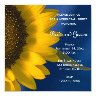 Sunflower on Blue Wedding Rehearsal Dinner Invite