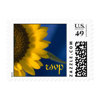 Sunflower on Blue Wedding RSVP Postage Stamp