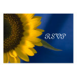 Sunflower on Blue Wedding RSVP Response Card Large Business Card