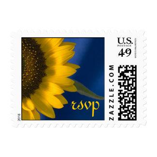 Sunflower on Blue Wedding RSVP Stamp
