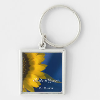 Sunflower on Blue Wedding Silver-Colored Square Keychain