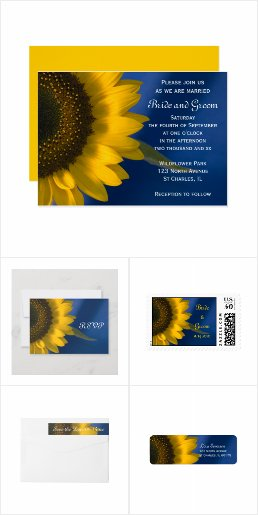 Sunflower on Blue Wedding Stationery Products