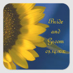 Sunflower on Blue Wedding Stickers