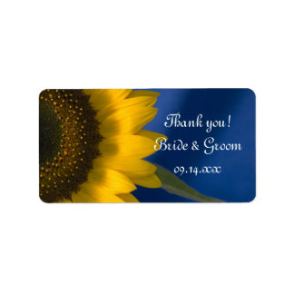 Sunflower on Blue Wedding Thank You Favor Tags Address Label