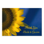 Sunflower on Blue Wedding Thank You Notes - Flat Personalized Invite