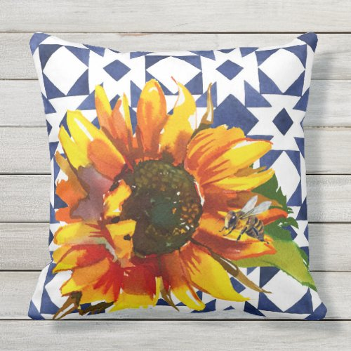Sunflower on Blue & White Quilt w/ Bee Pillow