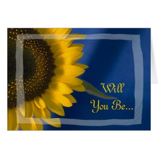 Sunflower on Blue Will You Be My Bridesmaid Card